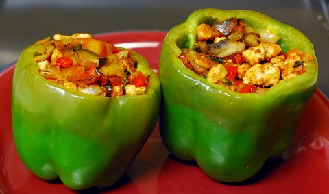 Stuffed Green Bell Peppers with Tomatoes and Mushrooms