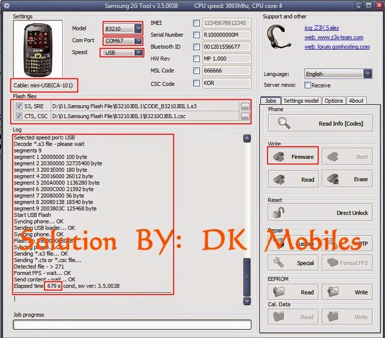 Samsung B3210 flashing Z3x box ~ DK Mobile Services