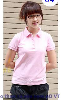 Áo thun cổ bẻ nữ màu hồng phấn