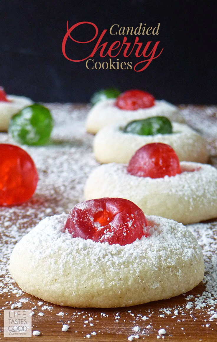 Candied Cherry Cookies | by Life Tastes Good are a wonderful addition to your Christmas cookie tray. A delicate vanilla cookie studded with a sweet candied cherry is as delicious as it is beautiful. These festive cookies are easy to make too!