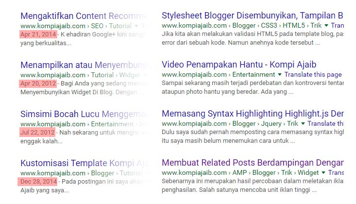 Menghilangkan Tanggal Di Search Results Dan Mengatasi Error Missing Update