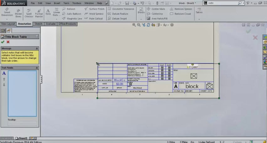 SolidWorks - Define Title Block Table in Drawing page
