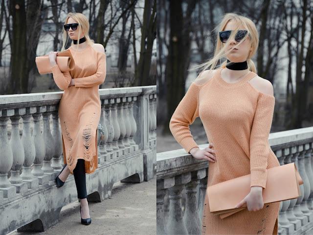 Peach dress.