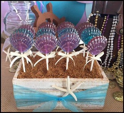 CLAM SHELL Lollipops - Under the Sea, Mermaid Party, Ariel Party, and Beach Party Favors
