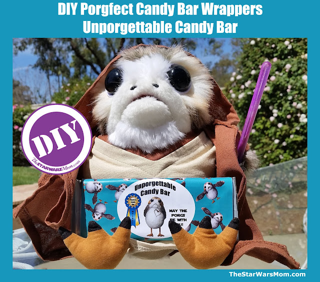 Porg Candy Bar Wrapper - Star Wars Porgs Party - Modeled by Mara Jade