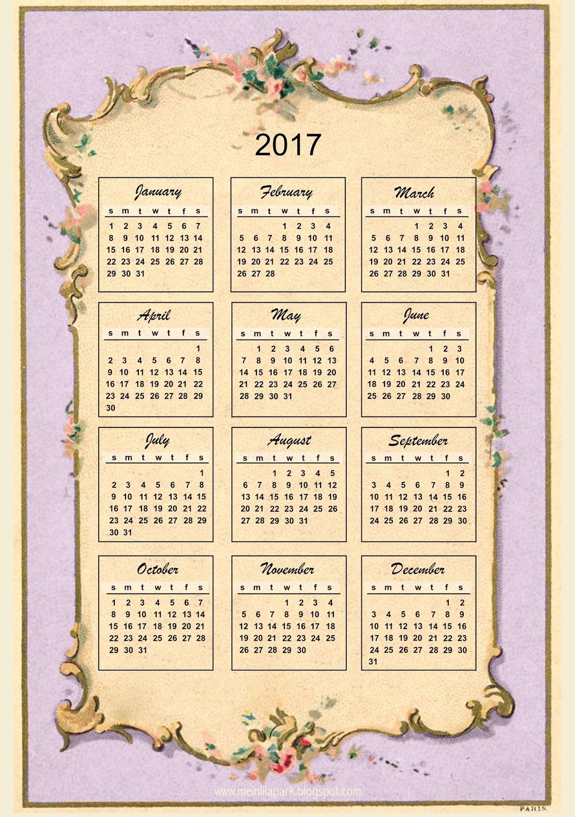 free printable 2017 vintage design calendar ausdruckbarer kalender freebie meinlilapark. Black Bedroom Furniture Sets. Home Design Ideas
