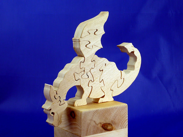 Left Front - Wooden Toy Puzzle - Dragon - Poplar - Unfinished - 7.5x6 Inches