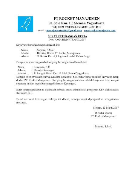 surat keterangan kerjauntuk kpr