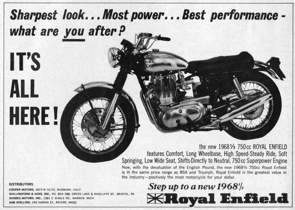 Ad for Royal Enfield Interceptor.