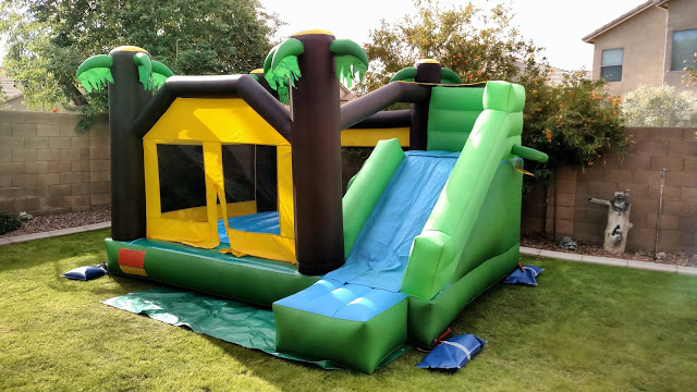 Toddler tropical combo bounce house with slide