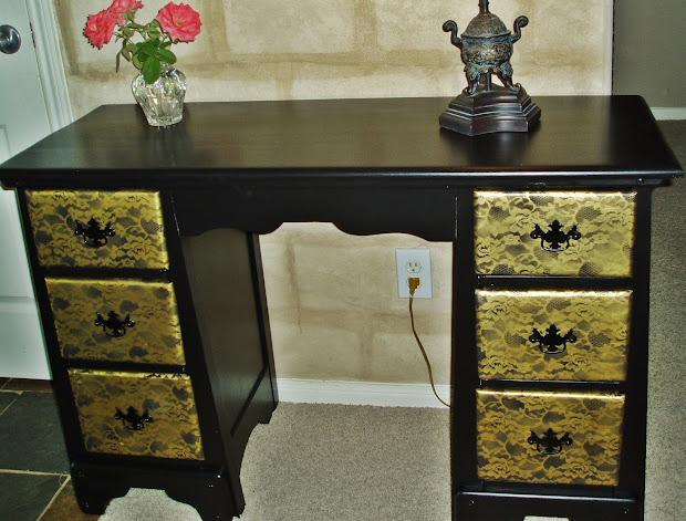 Faux Painting Furniture Black-gold Texas Rose Desk Vanity