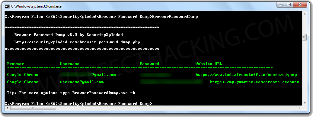 Browser Password Dump Browser Passwords Screenshot