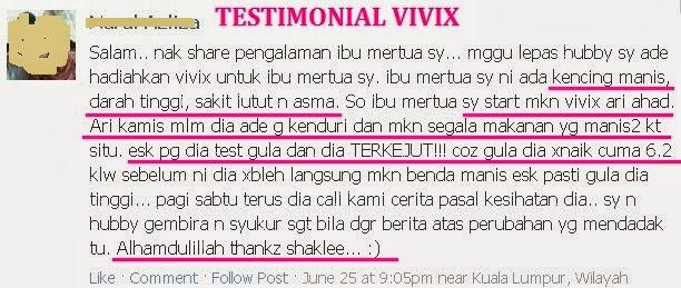 Testimoni Pengguna Vivix Shaklee untuk sakit Diabetes