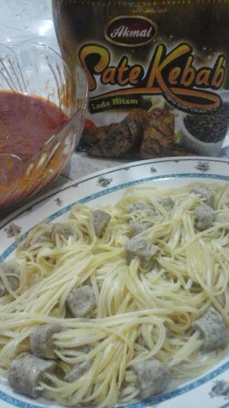 Resepi Spaghetti Dengan Sate Kebab Akmal