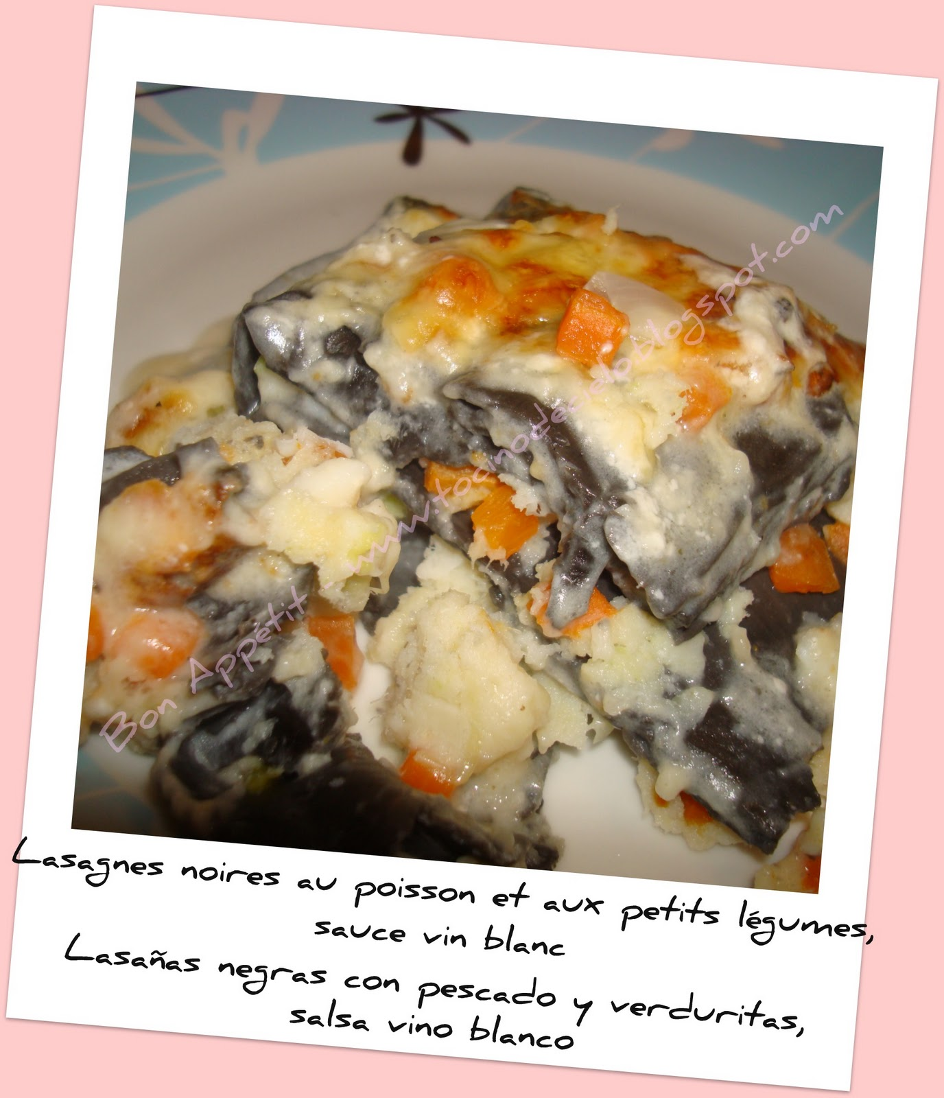 bon appetit lasagnes noires au poisson et petits l gumes lasa a negra con pescado y verduritas. Black Bedroom Furniture Sets. Home Design Ideas