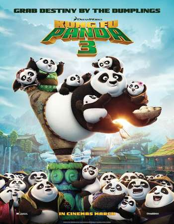 Poster Of Kung Fu Panda 3 2016 Dual Audio 300MB BRRip 480p ESubs Free Download Watch Online Worldfree4u