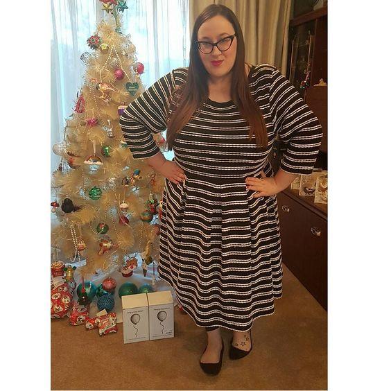 plus size Joanie Clothing Gigi Scallop Stripe Dress
