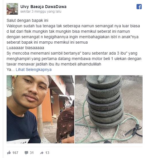 Bikinnya Susah, Mikulnya Berat, Cobek Yang Dijual Bapak Ini Ditawar Rp3000 Oleh Wanita Bermobil Mewah