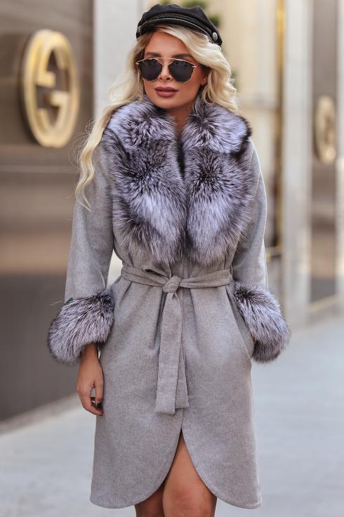 Palton dama elegant de lux gri din lana naturala de alpaca cu guler din blana naturala de vulpe argintie