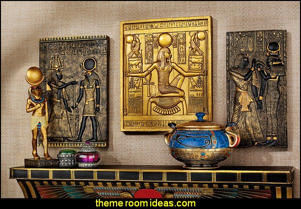3 Piece Egyptian Temple Stele Tutankhamen, Isis and Horus Wall Décor