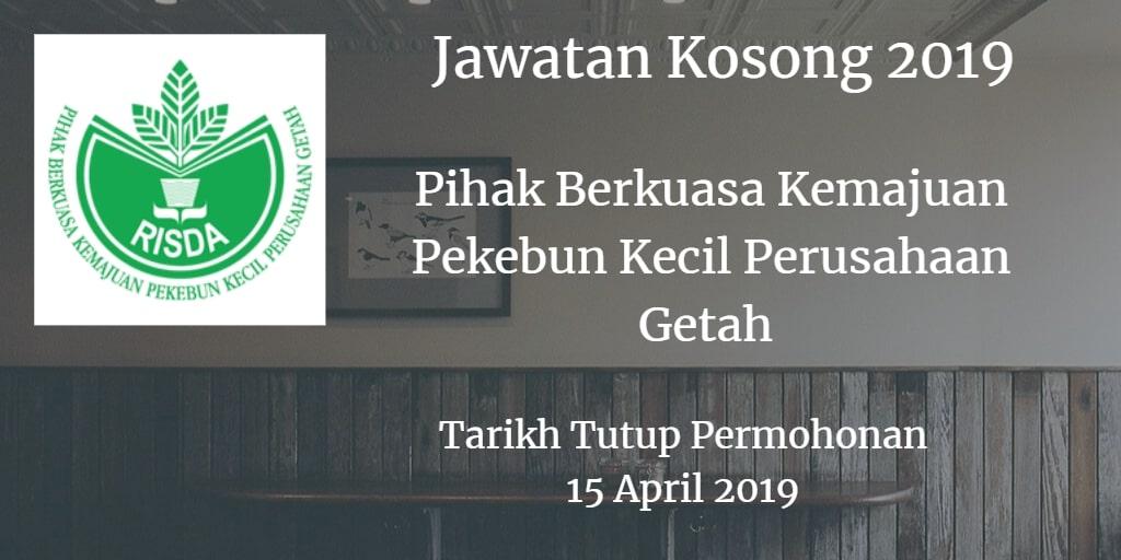 Jawatan Kosong RISDA 15 April 2019