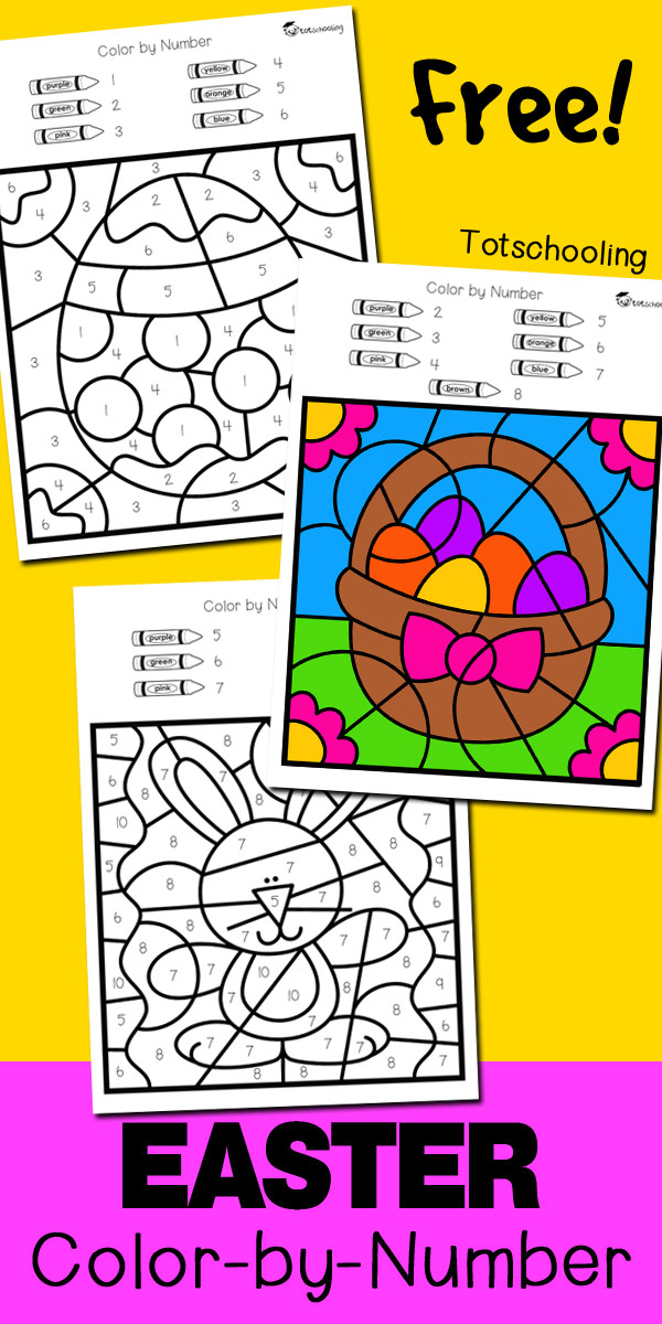 graphic relating to Color by Number Easter Printable named Easter Shade via Selection Totschooling - Child, Preschool