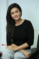 Telugu Actress Mishti Chakraborty Latest Pos in Black Top at Smile Pictures Production No 1 Movie Opening  0153.JPG