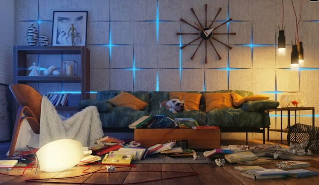 3D wall panels with lights