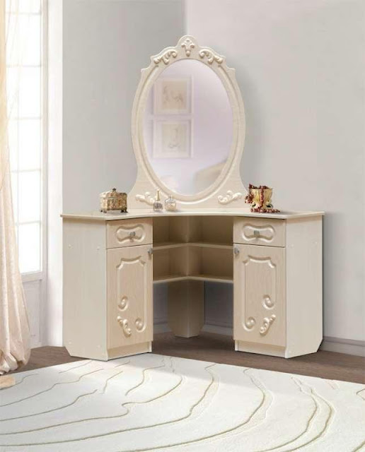 white luxury corner dressing table desgins