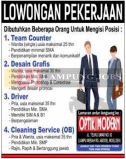 Lowongan Kerja Lampung Juni 2018 di Optik Modern Bandar Lampung Terbaru