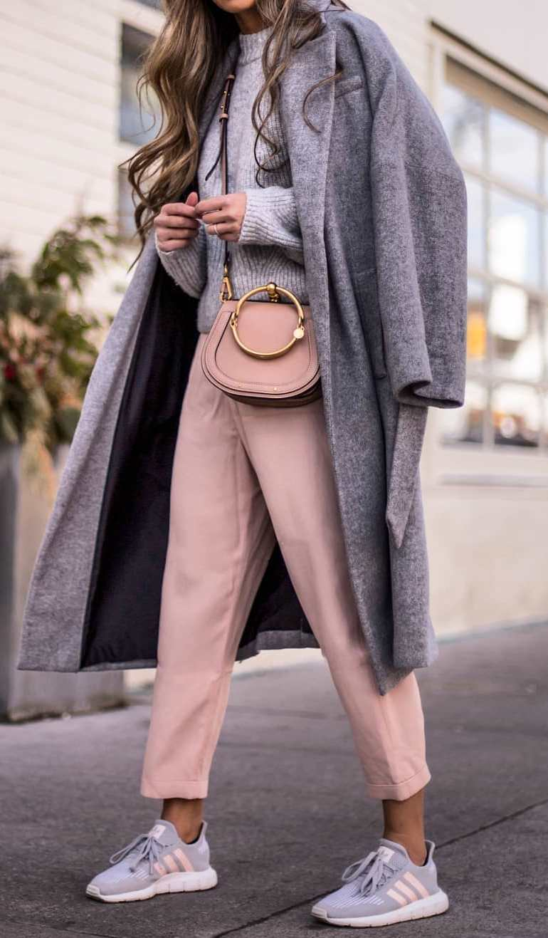 fashionable outfit idea for this fall / bag + coat + knit sweater + blush pants + sneakers