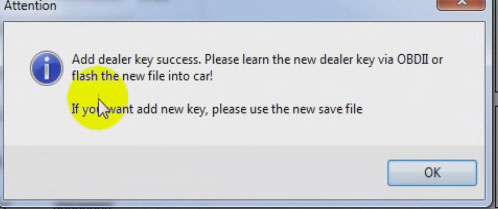 Add dealer key successfully!