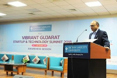 Jagran Lakecity University partners with Vibrant Gujarat: Start-up & Technology Summit 2018 to create awareness on Entrpreneurship.