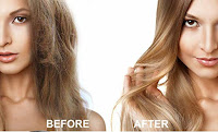 Female hair before and after image