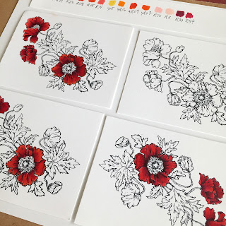 copic coloring of poppy images in progress. Featuring power poppy stamps and colored in shades of red.