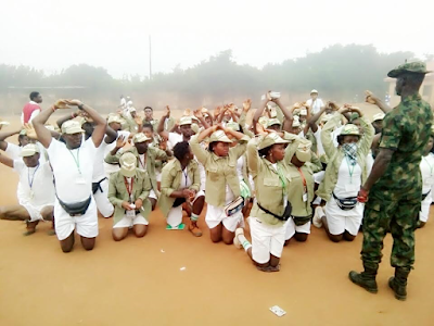 Corps members made to kneel down as punishnment at Abia state NYSC orientation camp