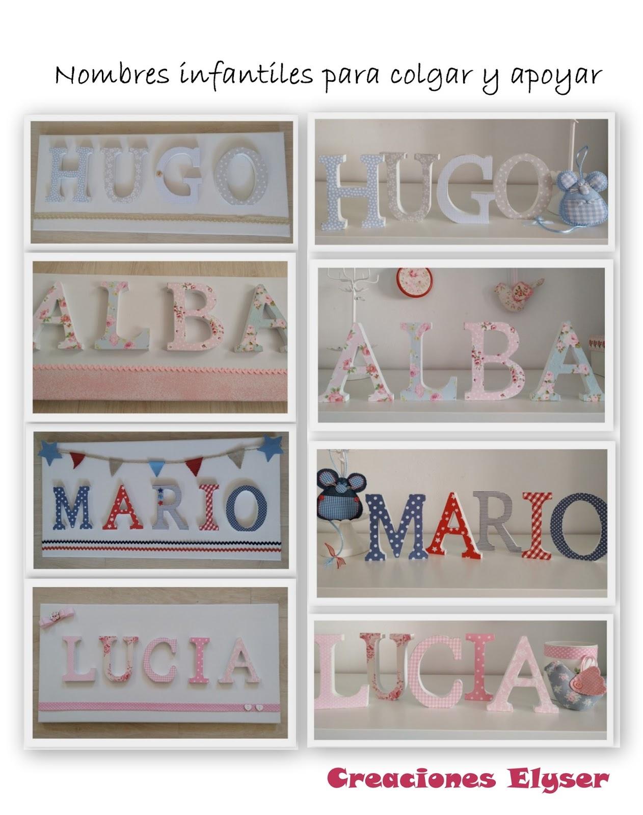Creaciones elyser nombres con letras de madera y tela - Letras habitacion bebe ...