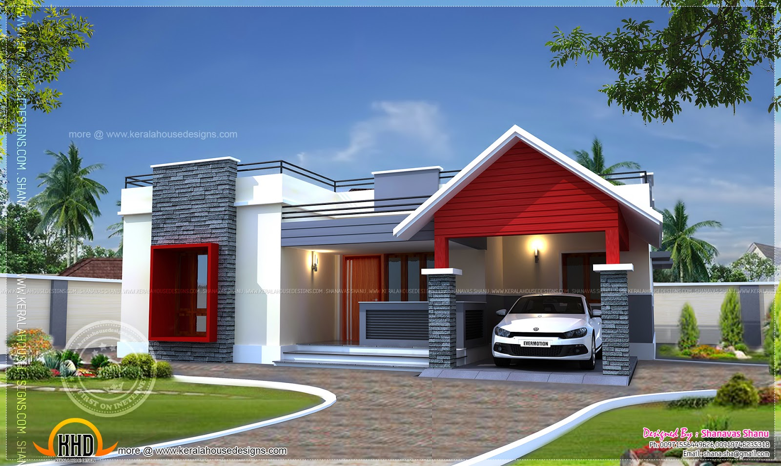 Single floor home plan in 1400 square feet kerala home for Small modern house plans two floors