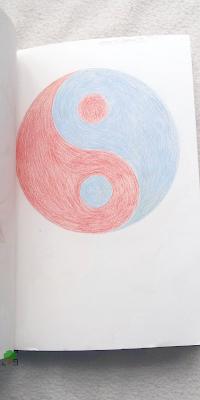 rysunek, niebieski, czerwony
