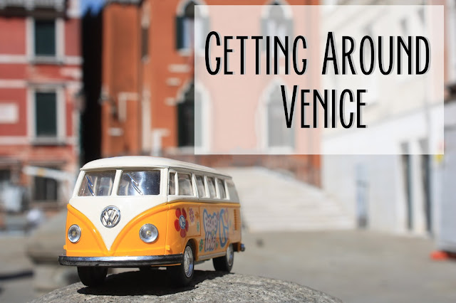 Title card with yellow van and text saying getting around Venice.