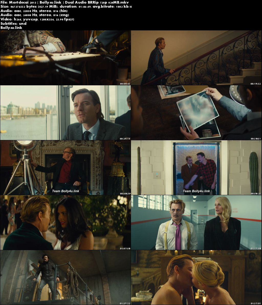 Mortdecai 2015 BRRip 800MB Hindi Dual Audio 720p Download