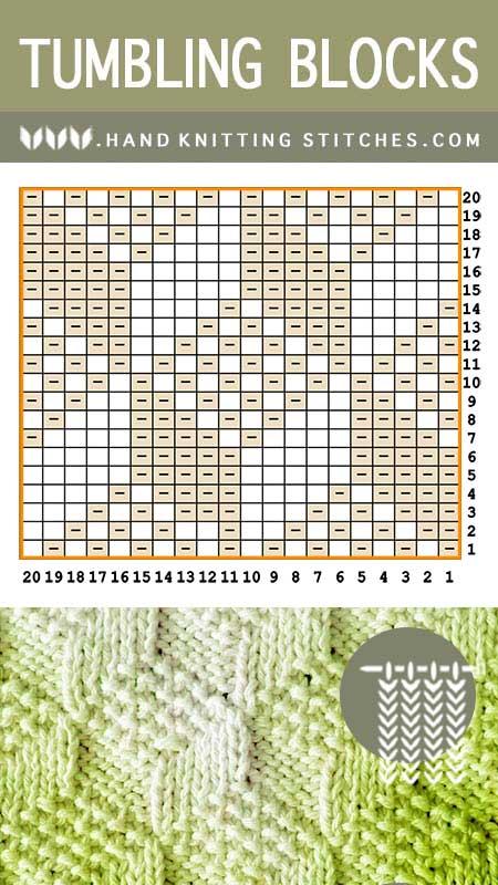 Hand Knitting Stitches - Tumbling Moss Blocks #KnitPurl Pattern Chart