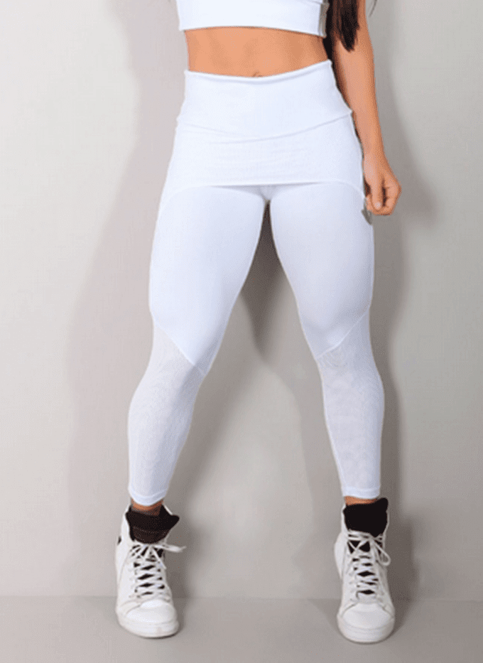 Legging Fitness com Saia em Tela de Poliamida Branca (1)