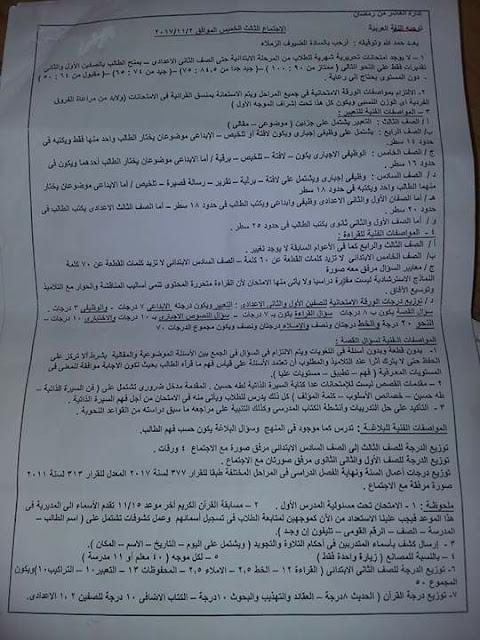 فاكس مواصفات امتحان اللغة العربية جميع المراحل
