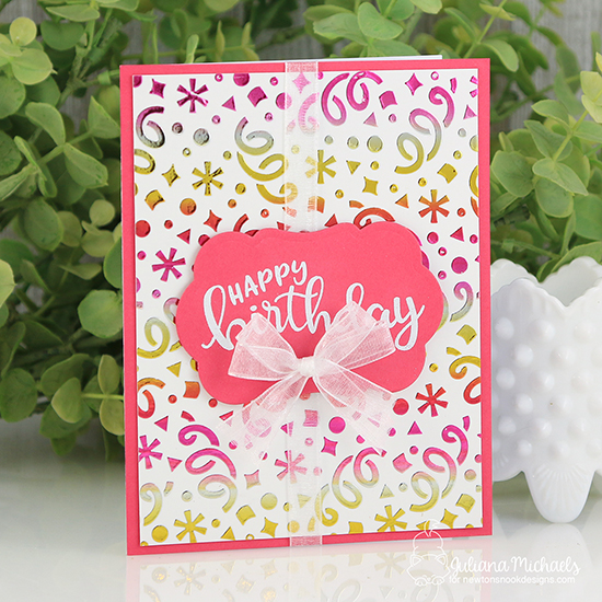 Birthday card by Juliana Michaels | Birthday Essentials Sentiment Stamp Set and Confetti Stencil by Newton's Nook Designs #newtonsnook #handmade
