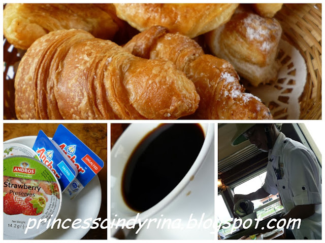 croissants, jam, coffee