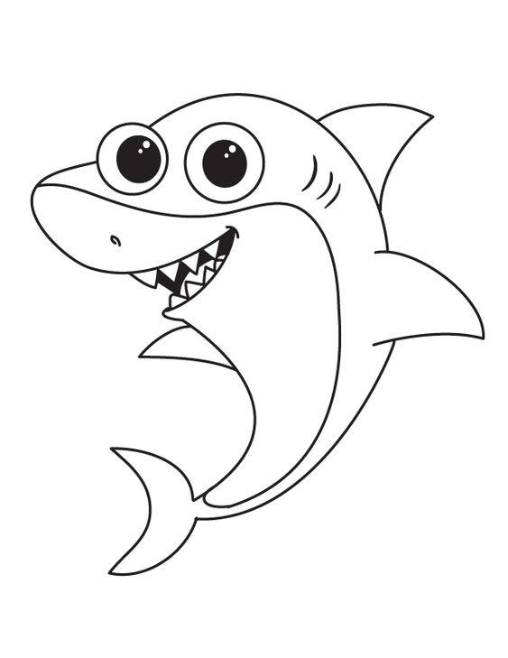 Tranh tô màu con cá mập vui vẻ