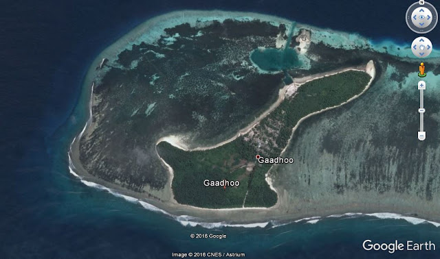 Map Attribute: Gaadhoo Island, Maldives / (c)2016 CNES/Astrum via Google Earth