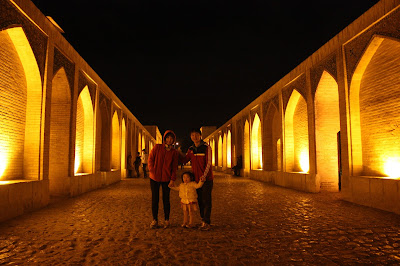 A female traveler and her family in Iran.  (Isfahan)