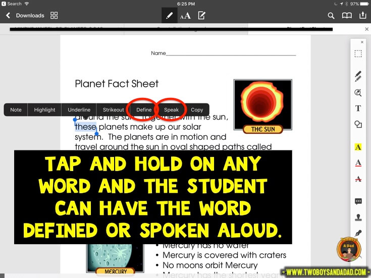 Using PDF Expert in guided reading to speak words